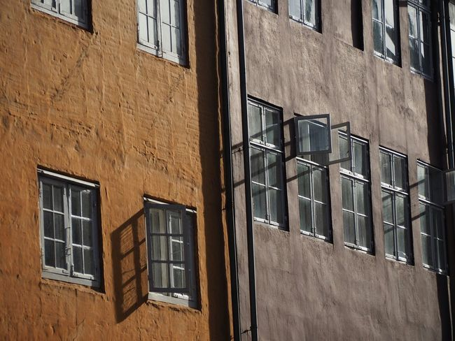 Christianshavn Facades Sunlight Shadow Windows Architectural Photography Cityhouse