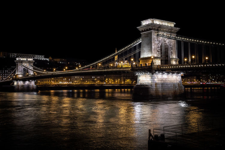 River Reflection Night Long Exposure Old Lines Nightphotography Time Vintage Budapest Hungary City Cityscape Illuminated Urban Skyline Water Politics And Government Suspension Bridge Bridge - Man Made Structure Downtown District Awe Tall - High