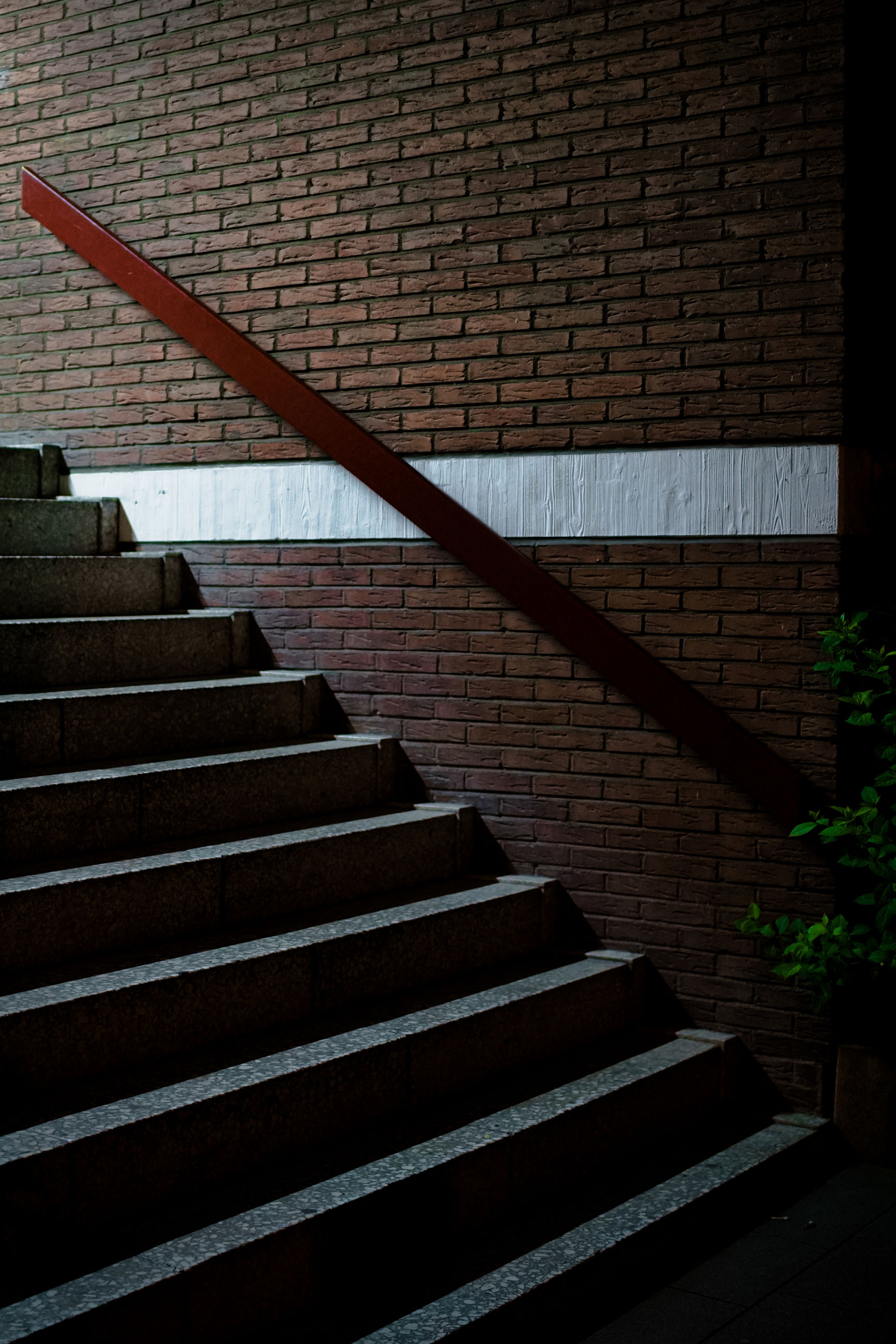 staircase, steps and staircases, architecture, stairs, built structure, no people, railing, wall, wood, light, line, darkness, low angle view, pattern, building exterior, wall - building feature, day, nature, outdoors, brick
