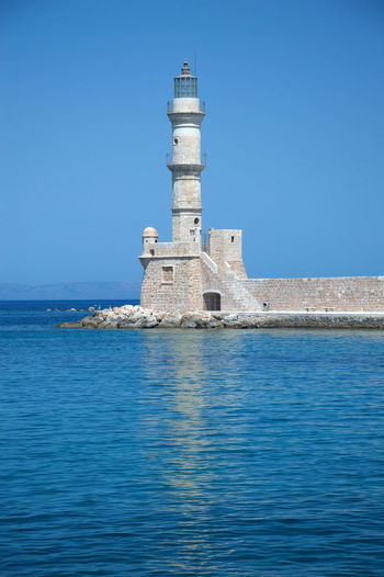 View od Chania on Crete Island Chania Crete Greece Island Ancient Town Venetian Summertime Tourist Tourism Sunny Sunnyday Architecture Lighthouse Old Town Built Structure Building Exterior Sky Clear Sky Relaxing Holydays Sea Sea And Sky
