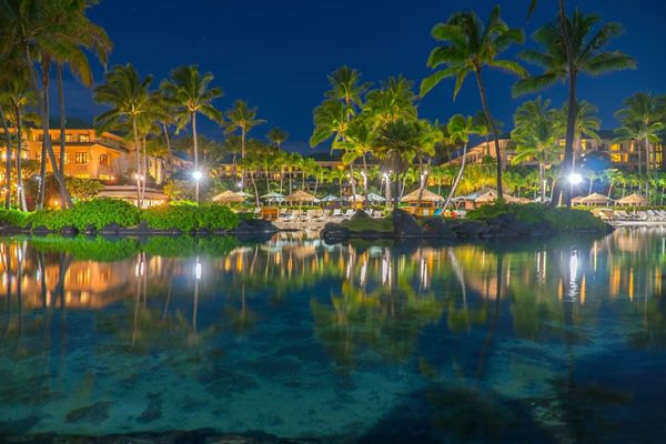Grand Hyatt Kauai In The Night Water Reflection Night Travel Travel Destinations Outdoors Reflection Lake No People Illuminated Nightphotography EyeEmNewHere Long Exposure Holiday Destination Hotels Blue