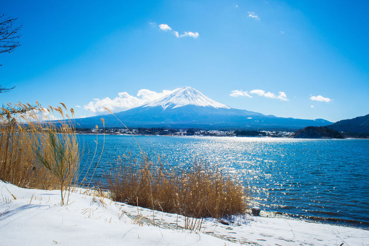 Scenic View Of Lake With Snow Covered Mountain In Background