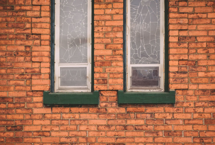Architecture Brick Wall Brick Wall Building Exterior Built Structure Church Green Ledge Stained Glass Symetrical Symmetry Two Windows Wall - Building Feature Window