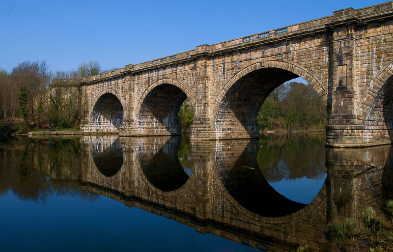 Lune Aquaduct Water Reflections Under The Bridge By The River Sunny Day
