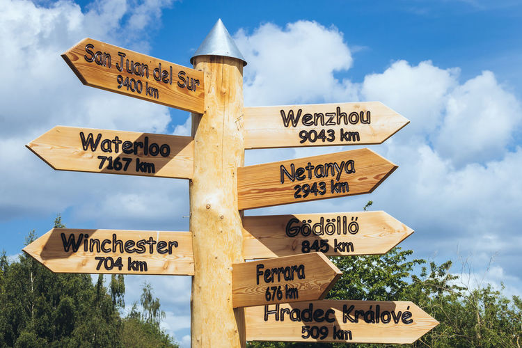Where to go. Cloudy Sky Hiking Outdoors Sign Trail Sign Travel Trees Wooden Material