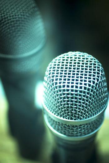 Close-up of microphones at studio