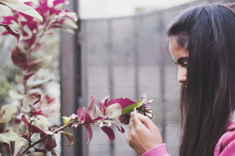 Close-up of young woman holding flowering plant at park