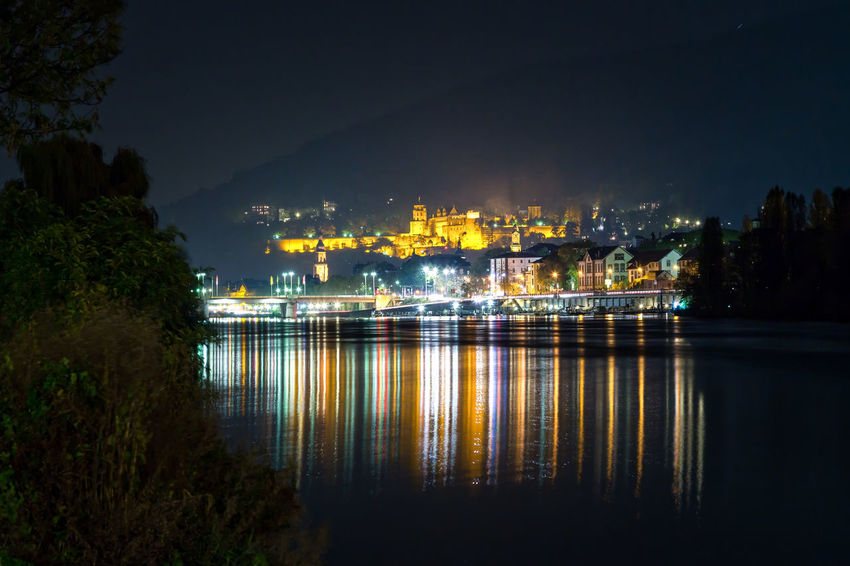 Castle Heidelberg Castle Night Lights Schloss Architecture Building Exterior Built Structure Colorful Illuminated Neckar Night No People Outdoors Reflection Reflections In The Water Water