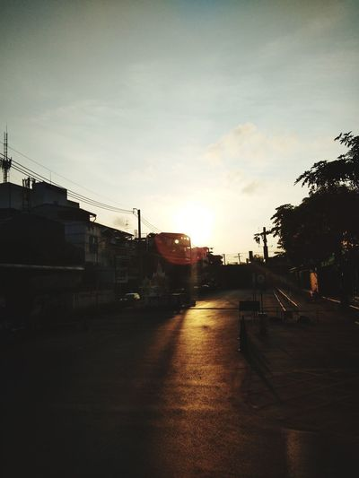 sun Tree City Sunset Sky Cloud - Sky Architecture Rain Wet Puddle Stop Sign Telephone Line Red Light