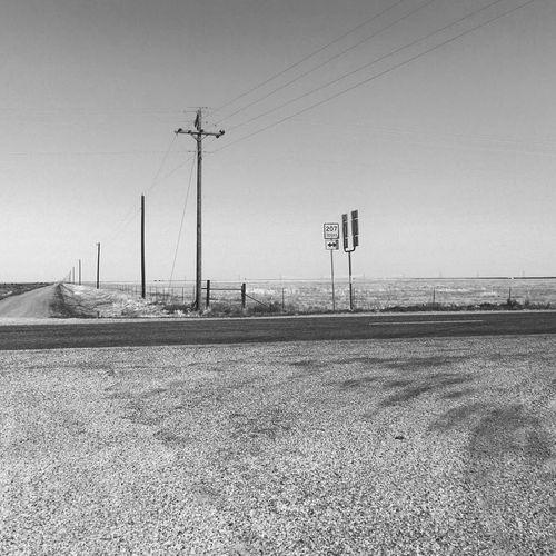 Texas 207 Electricity  Clear Sky Landscape Blackandwhite Roadtrip