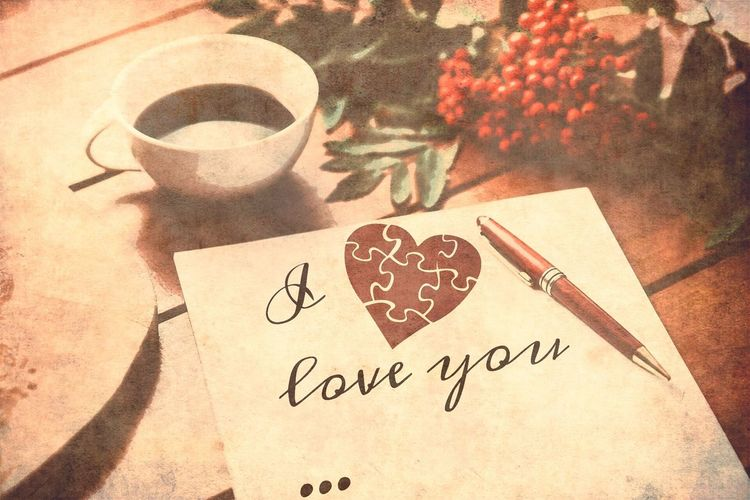 I love you Love Sentimental Sentiments Old Picture Paper Heart Coffee Old