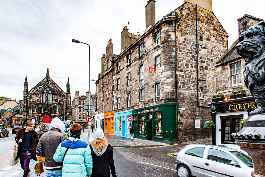 Edinburgh, Views of the city, several monuments and the Castle, Scotland, UK Adult Adults Only Architecture Building Exterior City City Life City Street Clock Tower Cultures Day Group Of People Only Men Outdoors People Sky Street Travel Destinations Young Adult