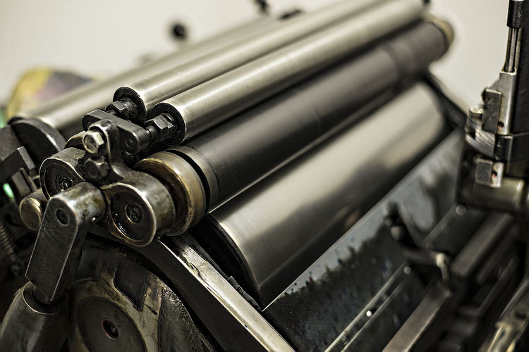 Close-up of printing press