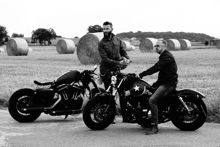 Meeting of two bikers Biker Black And White Bnw Casual Clothing Frejunde Friends Full Length Harleydavidson Landscape Leisure Activity Lifestyles Men Mode Of Transport Monochrome Motorcycle Motorcycle Outdoors Real People Riding Schwarzweiß The Great Outdoors - 2017 EyeEm Awards The Portraitist - 2017 EyeEm Awards The Street Photographer - 2017 EyeEm Awards Transportation Let's Go. Together. Connected By Travel