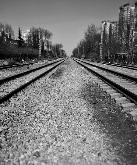 GO TO DISTANCE Traveling Photography Walking Around Found Railway City Hobby Symmetry Eyem Best Shots China B&w Tree Railroad Track Shadow Cold Temperature Sky Railway Bridge Railway Track Empty Road Straight