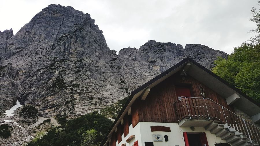 Architecture House Built Structure Building Exterior No People Low Angle View Outdoors Day Roof Tree Mountain Sky Nature Rifugio Grauzaria Moggio Udinese Camminare Nature Escursione Panorama Riposo Fvg