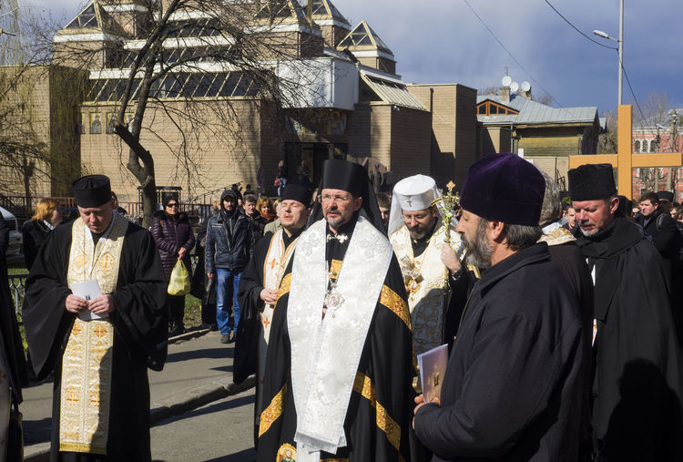 Patriarch of the Ukrainian Greek Catholic Church Sviatoslav Shevchuk in the held of religious procession. -- On Palm Sunday Architecture Building Exterior Built Structure Casual Clothing Catholic Church City Greek Held Large Group Of People Leisure Activity Lifestyles Palm Sunday Patriarch People And Places Person Procession Religious  Shevchuk Standing Street Sviatoslav Ukrainian  Young Adult Young Women