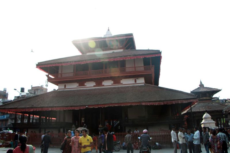 Architecture Basantapur Durbar Square Building Exterior Built Structure Clear Sky Copy Space Crowd Day Large Group Of People Leisure Activity Lifestyles Low Angle View Men Mixed Age Range Nepal Outdoors Person Religion Roof Sky Tourism Tourist Attraction  Tourist Destination Travel Destinations
