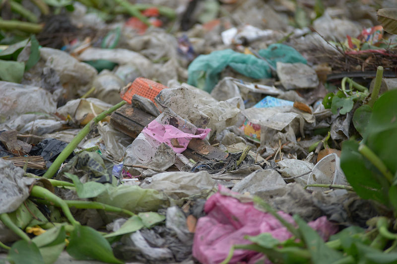 High angle view of garbage and leaves