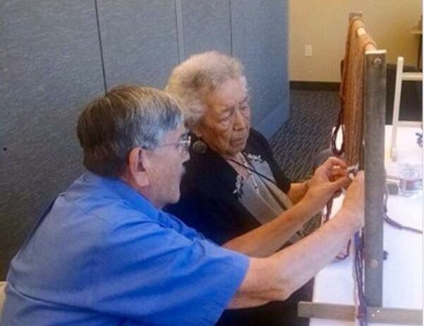 90 plus year old elder learning to weave... Awesome