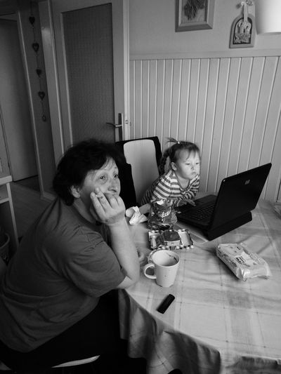 Generation Kid And Granny Indoors  Two People Blackandwhite