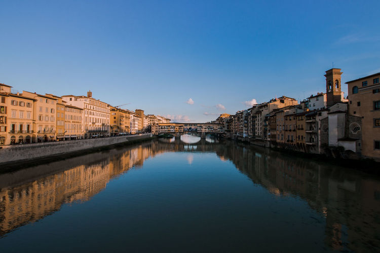 View Of Ponte Vecchio Over River Against Clear Sky