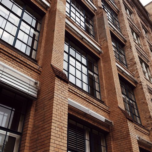Looking Up Building Exterior Brick Wall Architecture Window Façade Brown City