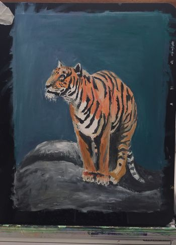 My first practise with water mixable oil paints Animals Animal_collection Myartwork Art #illustration #drawing #draw #tagsforlikes #picture #photography #artist #sketch #sketchbook #paper #pen #pencil #artsy #in ArtWork MyArt EyeEm Nature Lover Oil Painting Painting Tiger