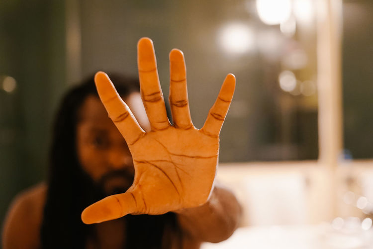 Stop Self. Human Hand Hand Human Body Part Focus On Foreground Body Part One Person Gesturing Palm Indoors  Close-up Adult Human Finger Finger Real People Women Showing Selective Focus Front View Lifestyles Stop Gesture Human Limb The Week on EyeEm
