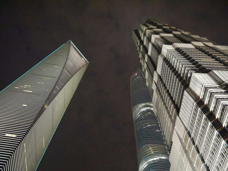 I'm looking at the second tallest building in the world. Shanghai, China Skyscrapers Architecture Night Shot Shanghai Tower Shanghai World Financial Center Lumix Gf5 Travel Photography
