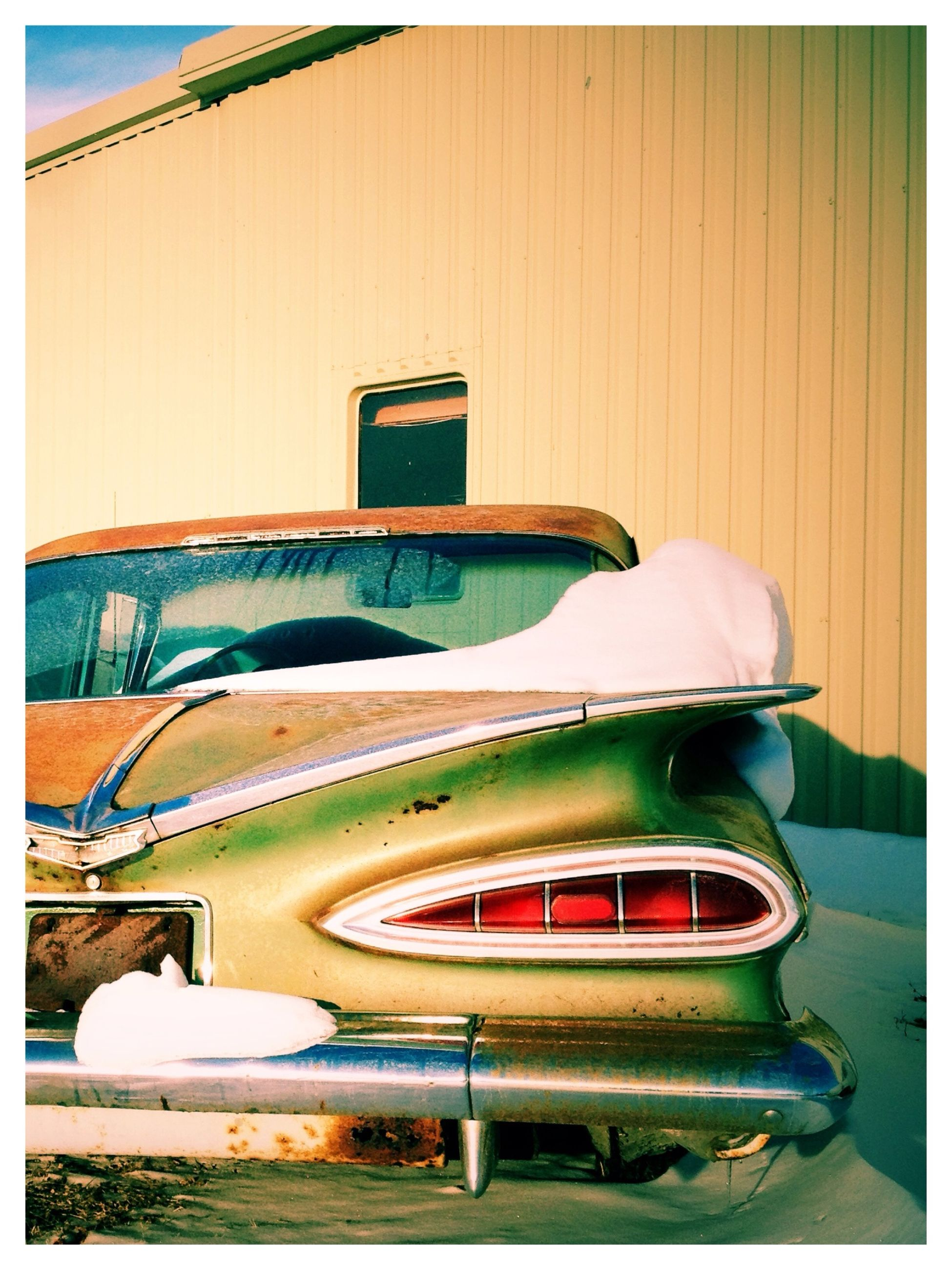 transfer print, auto post production filter, transportation, mode of transport, land vehicle, car, architecture, built structure, stationary, building exterior, absence, day, no people, parked, outdoors, empty, retro styled, old-fashioned, street, parking
