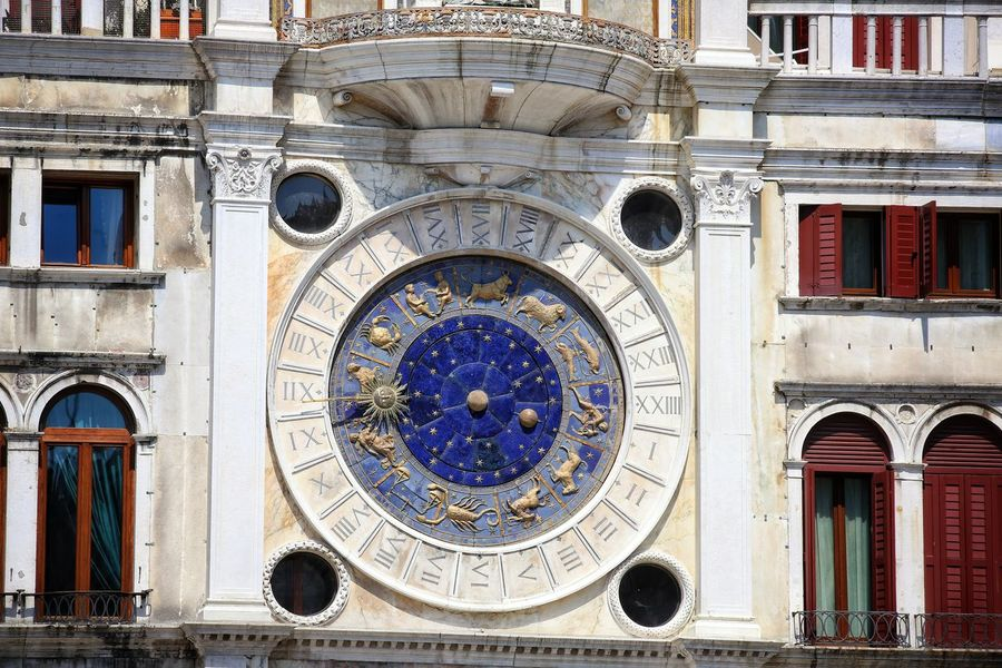 St Mark's Square St Mark's Tower St Mark's Square St Mark's Tower Venice Canals Venice, Italy Architecture Astrology Sign Astronomical Clock Building Exterior Built Structure City Clock Clock Face Day Façade Low Angle View No People Ornate Outdoors Roman Numeral Time Travel Destinations