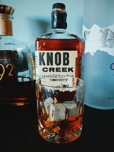 Knob Creek Whiskey bourbon Bourbonwhiskey Bourbon Whisky Knobcreek Drink Alcohol Drinking Glass Cola Liquid Bottle Text Close-up Food And Drink