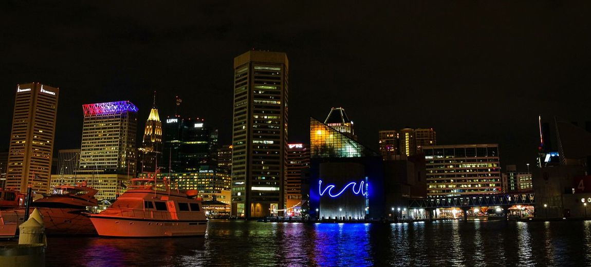 Architecture Building Exterior City Built Structure Illuminated Night Skyscraper Transportation Water Modern Nautical Vessel River Waterfront Tower No People Outdoors Travel Destinations Urban Skyline Cityscape Sky Baltimore Maryland Rickeherbertphotography Travel Photography The Architect - 2017 EyeEm Awards Been There.