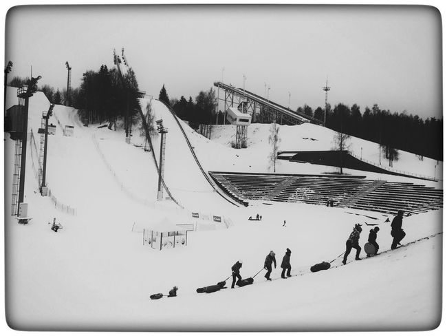 Winter Wonderland Snow b&w Real People Day Outdoors Leisure Activity Panoramic Large Group Of People Winter Sport Nature Vacations Blackandwhite Minsk,Belarus Silhouette