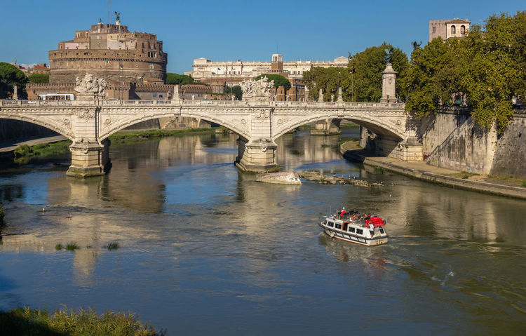 Boat Bridge Italy Neighborhood Map No People Reflection River Rome Water Reflections