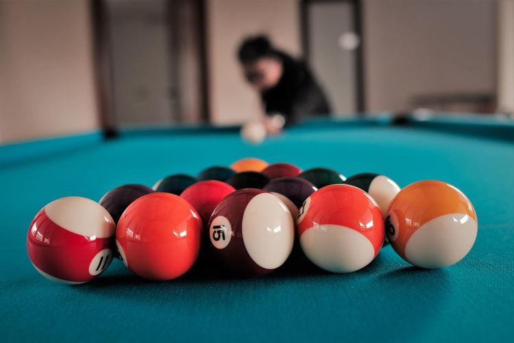Close-Up Of Man Playing Pool