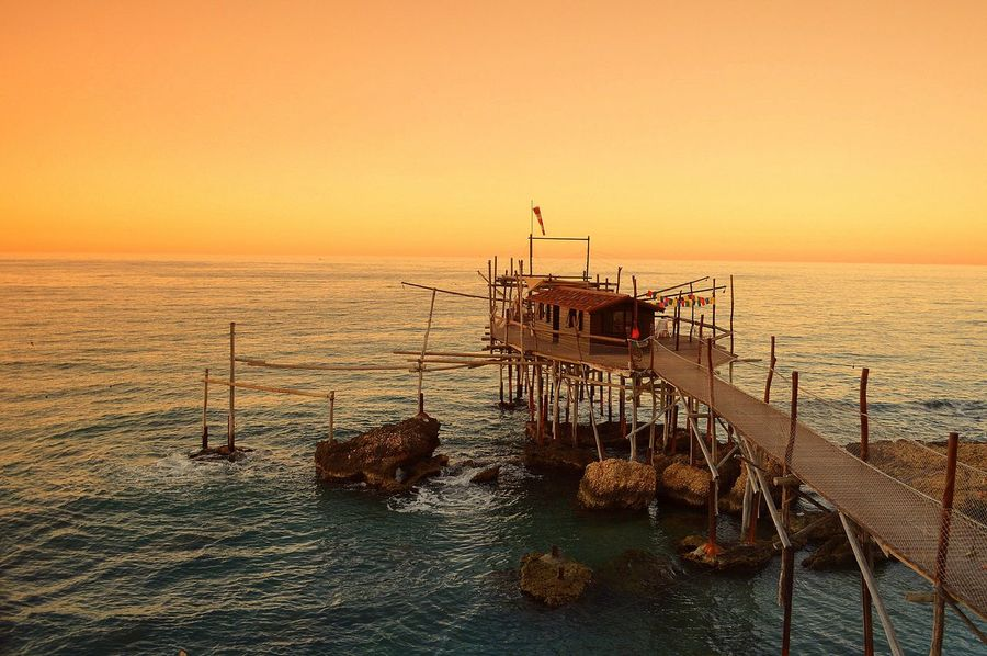 Adriatic Sea Fishing Time Horizon Over Water Italy Italy Holidays Orange Color Romantic Sky Sea Seascape Sunset Tranquil Scene Tranquility Water Waterfront