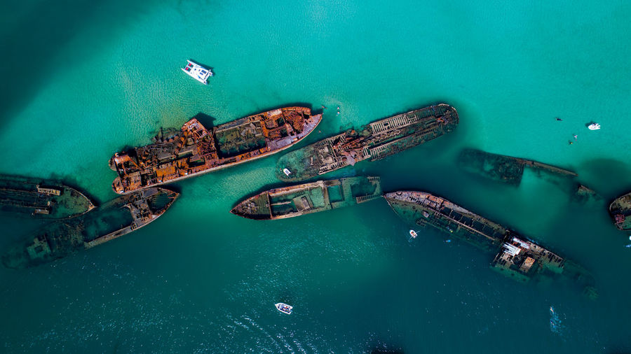 Aerial Footage of the old whaling ships at Tangalooma on Moreton Island, Queenslad Shipwreck Wrecks Ship Outdoors Ocean Queensland Moreton Bay Dive Site Beauty In Nature Nautical Vessel Transportation Mode Of Transportation Turquoise Water High Angle View Sea Nature Aerial View Day Dronephotography Tranquility Australia