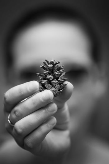 Nature Artistic Blackandwhite Close-up Focus On Foreground Hand Holding Human Hand One Person Outdoors Pine Cone Selective Focus Unrecognizable Person Visual Creativity The Creative - 2018 EyeEm Awards My Best Photo