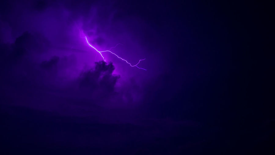 Lightning at night Beauty In Nature Danger Forked Lightning Illuminated Lightning Nature Night No People Outdoors Power In Nature Purple Sky Storm Storm Cloud Thunderstorm Vitality Weather