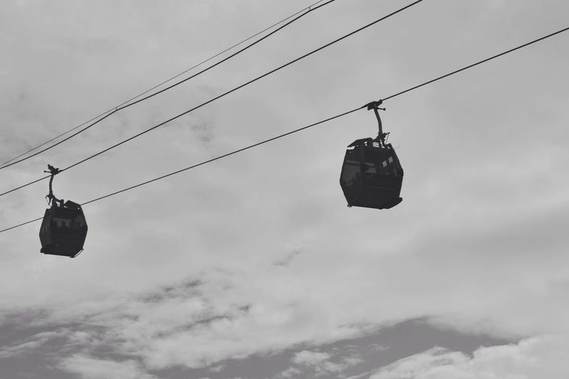Low Angle View Of Overhead Cable Cars Against The Sky