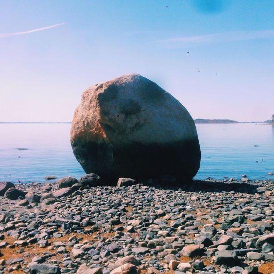 Rock Rocks Stone Huge Beach Sky Horizon VSCO Vscocam Vscogood