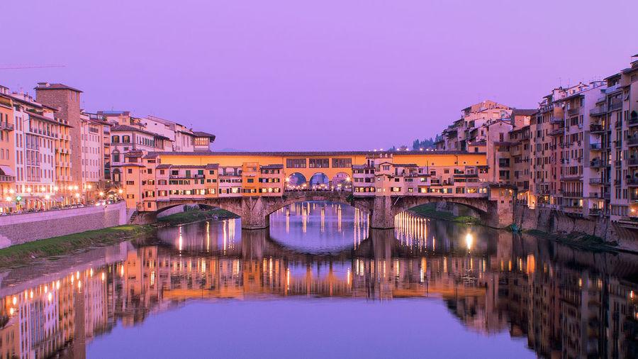 Bridge over river at dusk