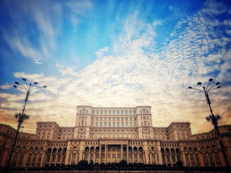 The second biggest building on the Planet Earth Huawei P20 Pro Huaweiphotography Romania Blue Sky Cloudy Sky Clouds And Sky Building Building Exterior Casa Poporului House Of Parliament House Of The People Bucharest Bucureşti Travel Destinations Travel Travel Photography Travelphotography Bnw_collection Bnw_life Bnwphotography Bnw_captures EyeEm Best Shots EyeEm Selects EyeEm Gallery Eye4photography  City History