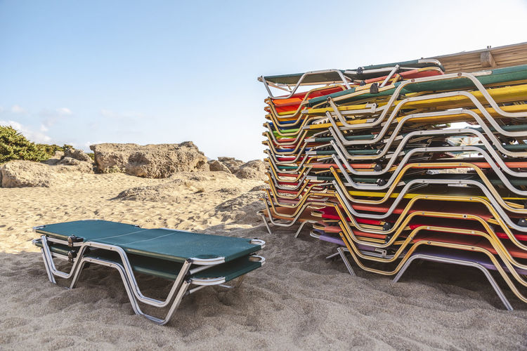 Summer Colors Summer Views Sunny Absence Architecture Beach Beach Chairs Beach Scene  Beachphotography Building Exterior Built Structure Chair Clear Sky Day Land Nature No People Outdoors Relax Sand Seat Sky Sunlight Tranquil Scene Tranquility
