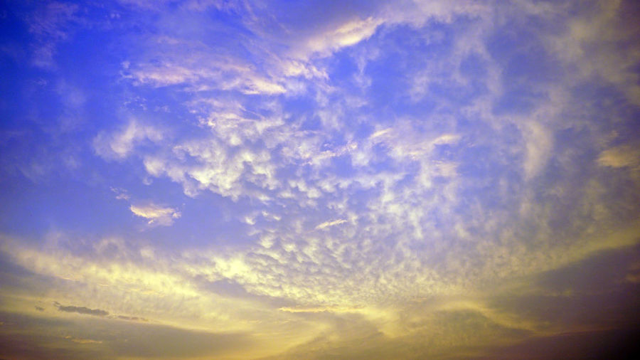 Dramatic color of Sky Dramatic Color Of Sky Backgrounds Beauty In Nature Blue Blue-sky Cloud - Sky Cloudscape Dramatic Sky Full Frame Idyllic Low Angle View Meteorology Nature No People Orange Color Outdoors Scenics - Nature Sky Sunlight Sunset Tranquil Scene Tranquility Wall-paper