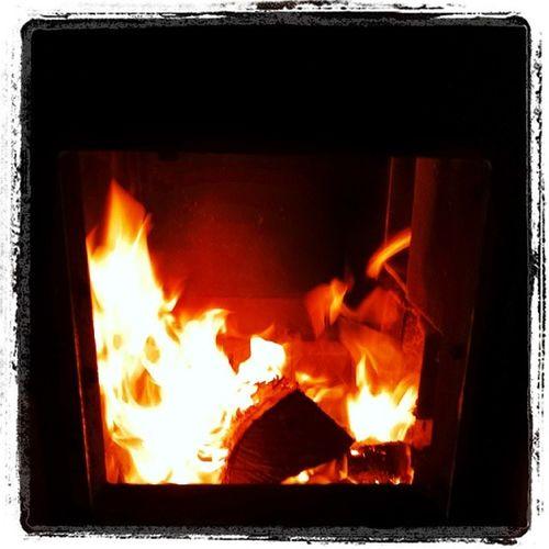 Ahhhh... Winter + wood furnace = pyromaniac's dream ;-) Woodstove Winter Warmandtoasty Vt vtphoto vermont evening