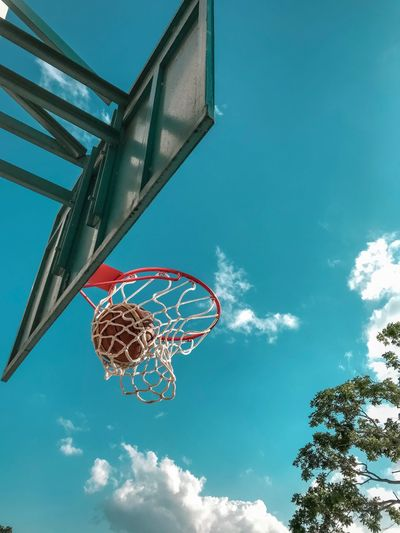 Timeless Basket Low Angle View Sky Nature Cloud - Sky Basketball - Sport Blue Basketball Hoop Sport Day Net - Sports Equipment Outdoors Directly Below My Best Photo The Mobile Photographer - 2019 EyeEm Awards