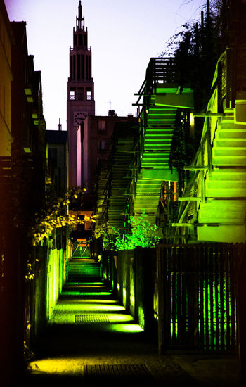 street in paris Architecture Built Structure Building Exterior Staircase Building Steps And Staircases Direction Green Color Illuminated No People City The Way Forward Outdoors Night Dusk Nature Connection Tower Railing Footpath Architectural Column Paris France
